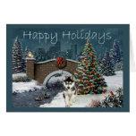 Igualación del navidad del husky siberiano tarjetas