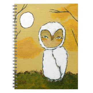 Igualación del paseo, arte blanco del búho del arb libretas