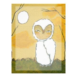 Igualación del paseo, arte blanco del búho del arb plantilla de membrete