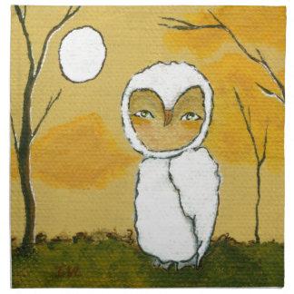 Igualación del paseo, arte blanco del búho del arb servilletas de papel