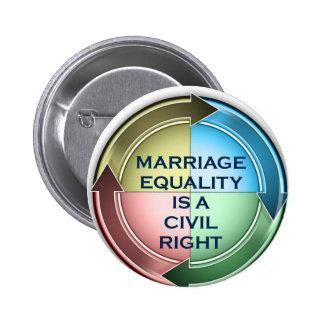 Igualdad de la boda pin redondo de 2 pulgadas
