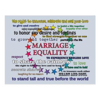 Igualdad de la boda tarjeta postal