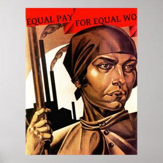 Igualdad de salario de las derechas de las mujeres poster