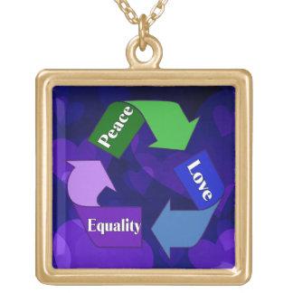 Igualdad del amor de la paz colgante cuadrado