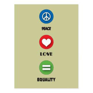 Igualdad del amor de la paz del orgullo gay tarjeta postal