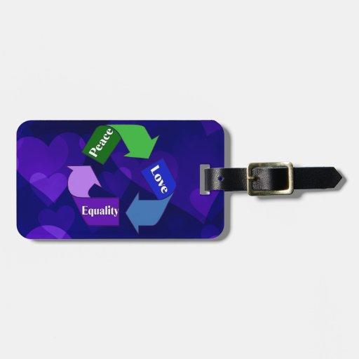 Igualdad del amor de la paz etiquetas de maletas