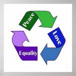 Igualdad del amor de la paz impresiones