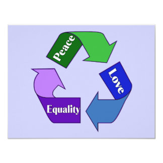 """Igualdad del amor de la paz invitación 4.25"""" x 5.5"""""""