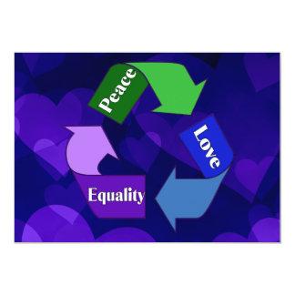 """Igualdad del amor de la paz invitación 5"""" x 7"""""""