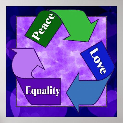 Igualdad del amor de la paz póster