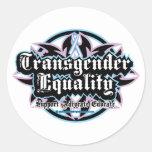 Igualdad del transexual tribal pegatinas redondas