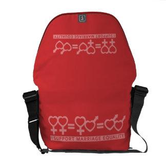 Igualdad/la una bolsa de mensajero de la boda del  bolsas de mensajeria