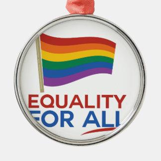 Igualdad para todos adorno redondo plateado