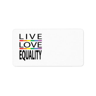 Igualdad viva del amor etiqueta de dirección