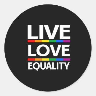 Igualdad viva del amor pegatina redonda