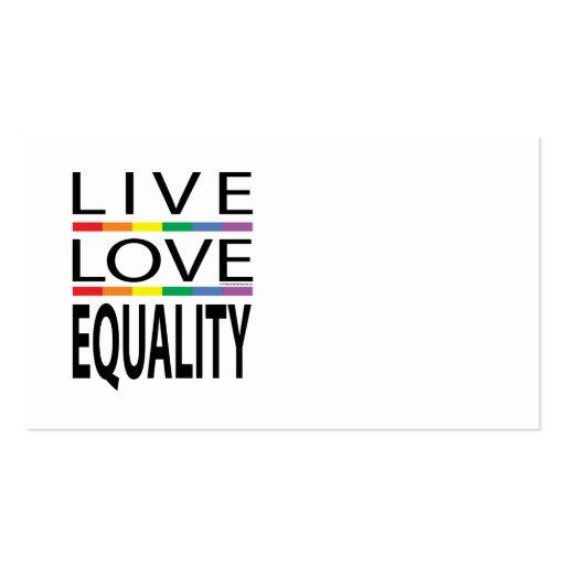 Igualdad viva del amor tarjetas de visita