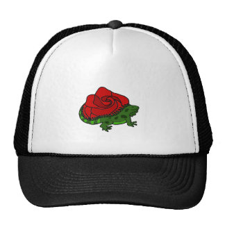 Iguana and Red Rose Art Hats