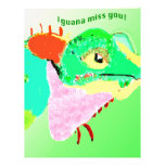 Iguana colorida en una postal membrete a diseño