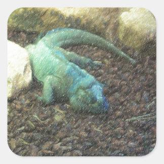 Iguana Dracon Square Sticker
