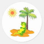 Iguana en el desierto etiquetas redondas