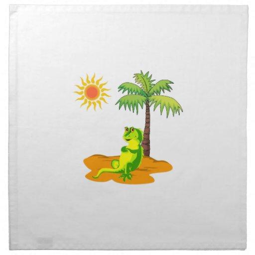 Iguana en el desierto servilletas imprimidas
