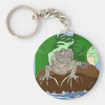 Iguana en una roca llavero redondo tipo pin