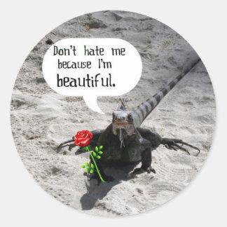 Iguana hermosa #2 pegatina redonda