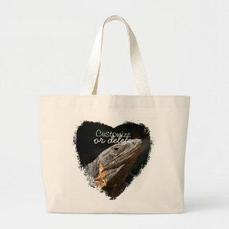 Iguana in the Sun; Customizable Large Tote Bag
