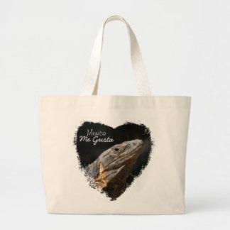Iguana in the Sun; Mexico Souvenir Large Tote Bag
