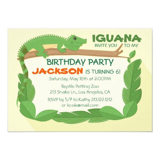 Iguana Lizard Reptile Birthday Invitation Zazzle Com