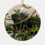 Iguana Double-Sided Ceramic Round Christmas Ornament