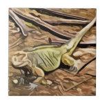 iguana painting tile