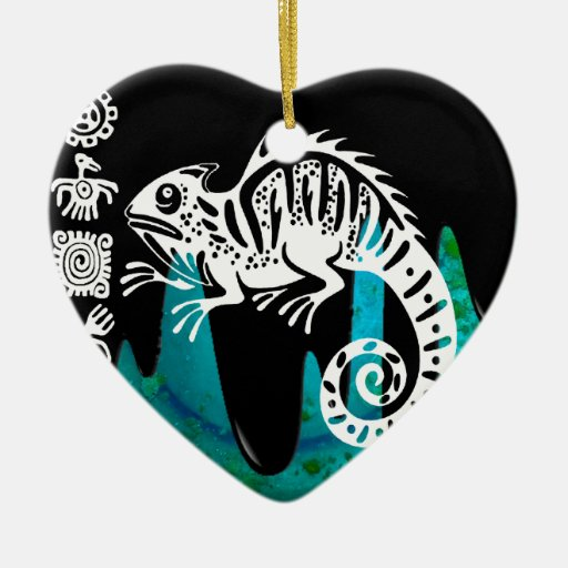 IGUANA PRODUCTS Double-Sided HEART CERAMIC CHRISTMAS ORNAMENT