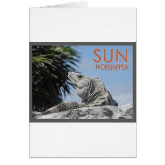 Iguana sun worshipper card