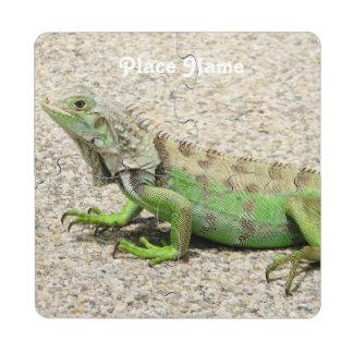 Iguana verde de Aruba Posavasos De Puzzle
