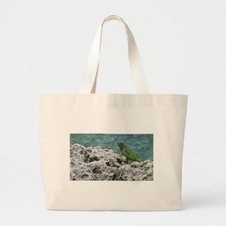 Iguana verde de las islas de Gran Caimán Bolsa Lienzo