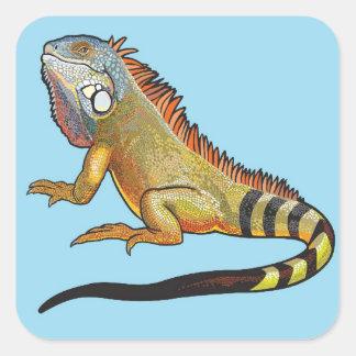 iguana verde pegatina cuadrada