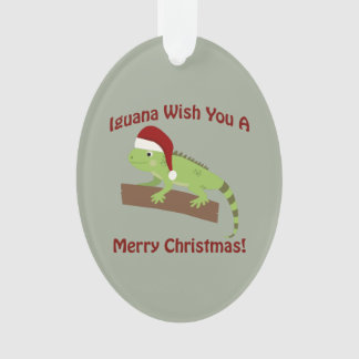 Iguana Wish You A Merry Christmas Ornament