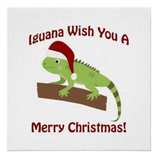 Iguana Wish You A Merry Christmas Poster