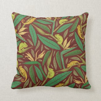 Iguanas in Jungle Leaves Tropical Pillow 16x16
