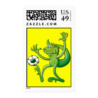 Iguanas like to Play Soccer Postage Stamp
