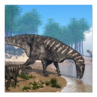 Iguanodon dinosaurs herd at the shoreline - 3D ren Card