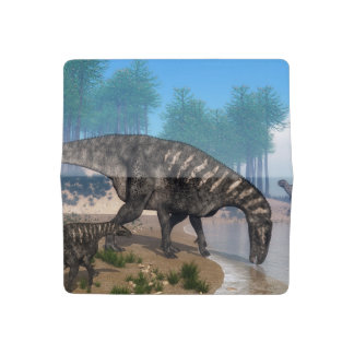 Iguanodon dinosaurs herd at the shoreline - 3D ren Checkbook Cover