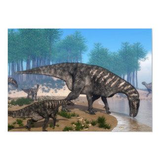 Iguanodon dinosaurs herd at the shoreline card