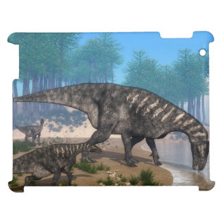 Iguanodon dinosaurs herd at the shoreline cover for the iPad 2 3 4