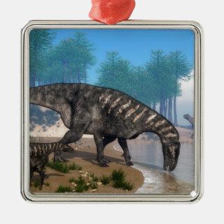 Iguanodon dinosaurs metal ornament