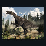 "Iguanodon roaring - 3D render Photo Print<br><div class=""desc"">Iguanodon dinosaur roaring while walking among ferns,  cycas and wollemia plants by day with clouds - 3D render</div>"
