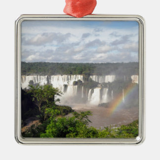 Iguazu Falls 8 Square Metal Christmas Ornament