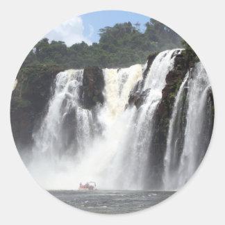Iguazu Falls and boats, Argentina Classic Round Sticker