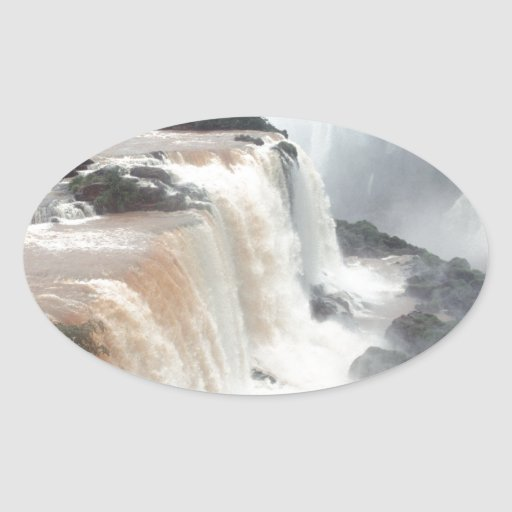 iguazu falls Brazill Oval Sticker